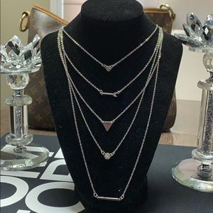 Layered necklace silver tone